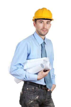 Young man architect with helmet and drafts isolated on white photo