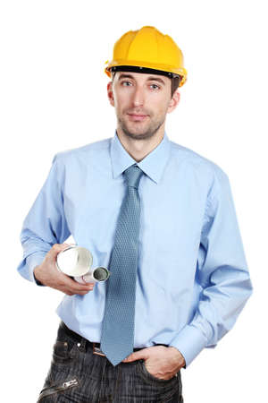 Young man architect with helmet and draft isolated on white photo