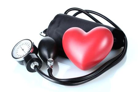 Black tonometer and heart isolated on white Stock Photo - 12664233