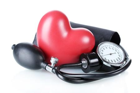 Black tonometer and heart isolated on white Stock Photo - 12664397