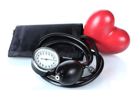 Black tonometer and heart isolated on white Stock Photo - 12664253