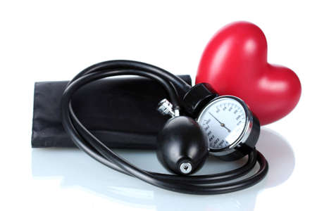 Black tonometer and heart isolated on white Stock Photo - 12664293