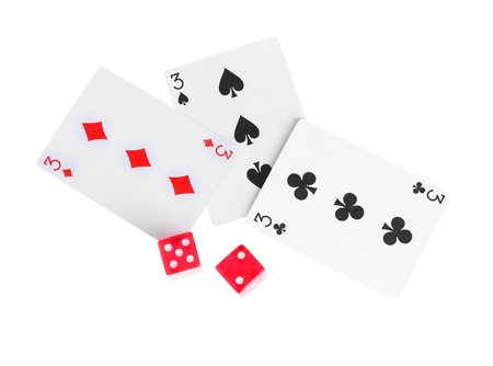 Three cards and dices isolated on white photo