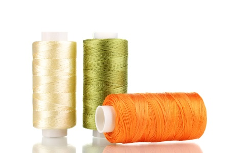 Three bobbin thread isolated on white Stock Photo - 12731239