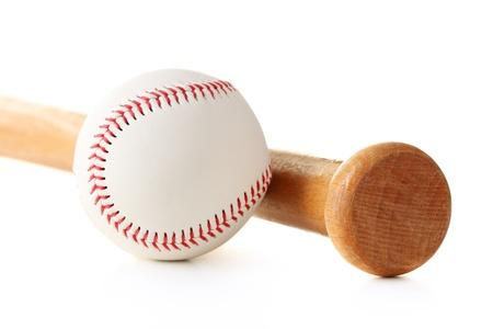 baseball swing: baseball ball and bat isolated on white Stock Photo