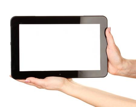 touchscreen: manos de la mujer la celebraci�n de una tableta de aislados en blanco Foto de archivo