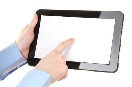mano touch: mani maschili in possesso di un tablet isolato su bianco