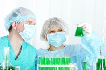 two scientists working in chemistry laboratory Stock Photo - 12731052