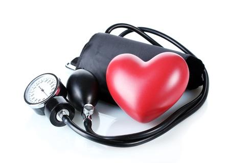 Black tonometer and heart isolated on white Stock Photo - 12731490
