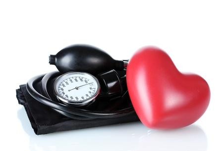 Black tonometer and heart isolated on white Stock Photo - 12731392