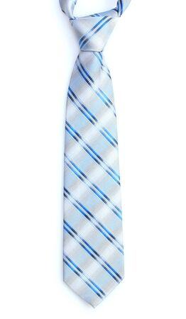 ironed: Elegant blue tie isolated on white Stock Photo