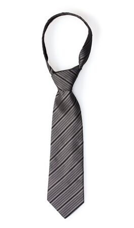 Elegant grey tie isolated on white photo