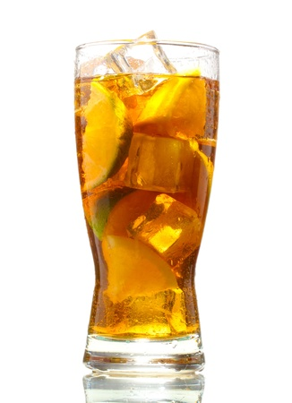 ice water: Iced tea with lemon and lime isolated on white