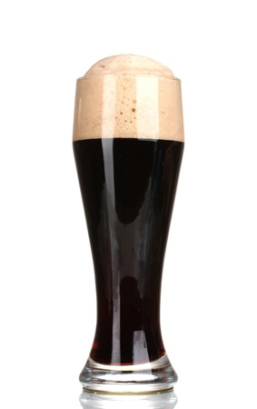 unstrained: dark beer in a glass isolated on white