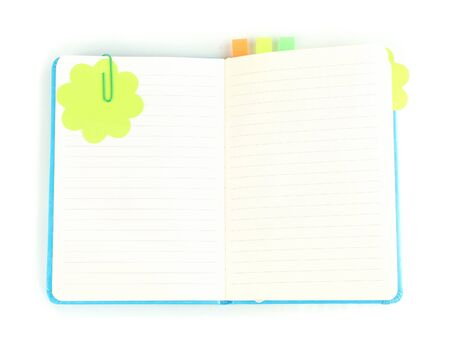 stickies: Open note book with stickies isolated on white Stock Photo