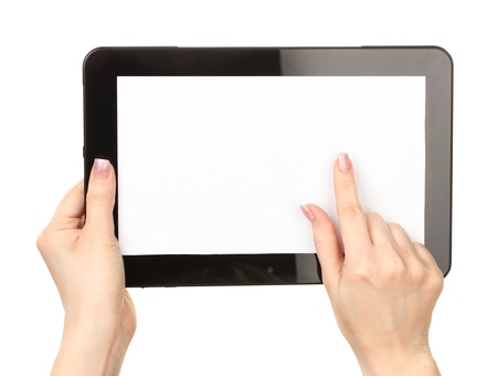 woman hand: woman hands holding a tablet isolated on white