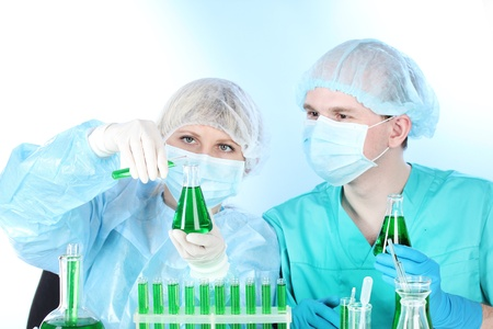 two scientists working in chemistry laboratory Stock Photo - 12824844