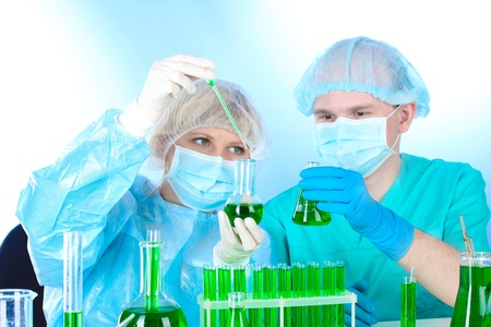 two scientists working in chemistry laboratory Stock Photo - 12824826