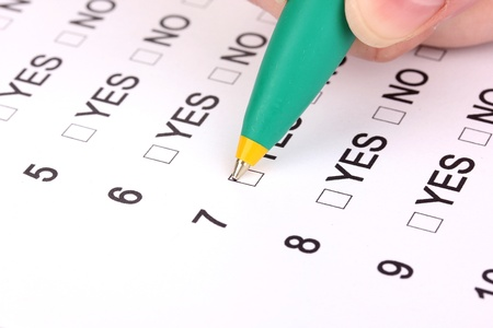Responding to test questions close-up Stock Photo - 12824900
