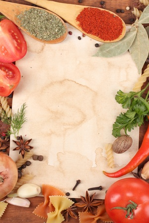 old paper for recipes and spices on wooden table Stock Photo - 12848237