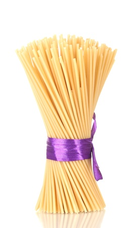 Bunch of spaghetti with ribbon isolated on white Stock Photo - 12849932