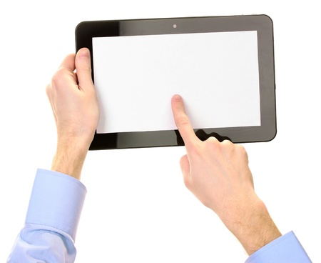 book reviews: male hands holding a tablet isolated on white Stock Photo
