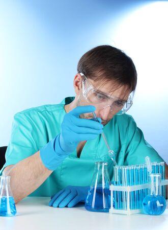 scientist in the lab working with chemicals test-tubes Stock Photo - 14934956