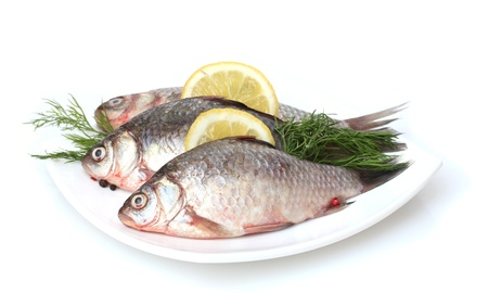 Fresh fishes with lemon and dill on plate isolated on white photo