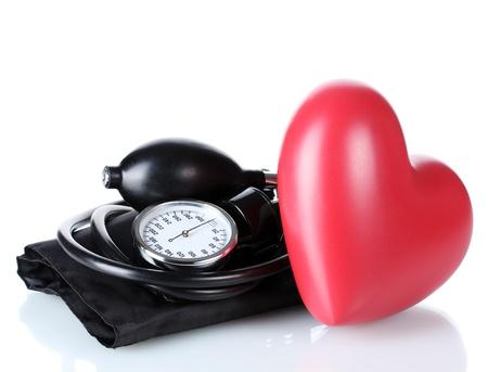 Black tonometer and heart isolated on white photo