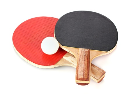 table tennis rackets and ball, isolated on white Stock Photo - 12913310