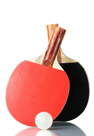 ping-pong rackets and ball, isolated on white Stock Photo - 12913637