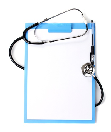 medical clipboard: stethoscope and blue clipboard isolated on white
