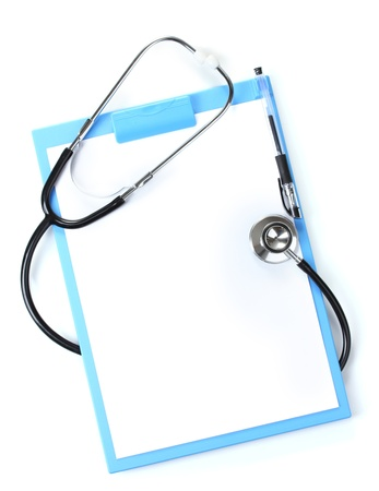 stethoscope: stethoscope and blue clipboard isolated on white