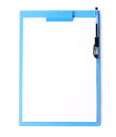 Clipboard with blank paper and pen isolated on white photo