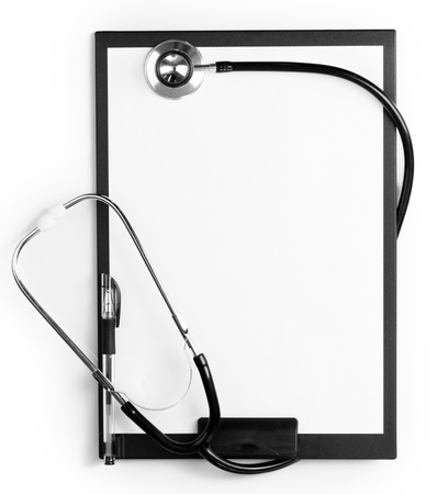 stethoscope and black clipboard isolated on white Stock Photo - 12912502
