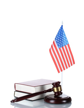 judge gavel, books and american flag isolated on white Stock Photo - 12912288