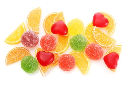 colorful jelly candies isolated on white photo