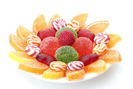 colorful jelly candies on plate isolated on white Stock Photo - 12913606