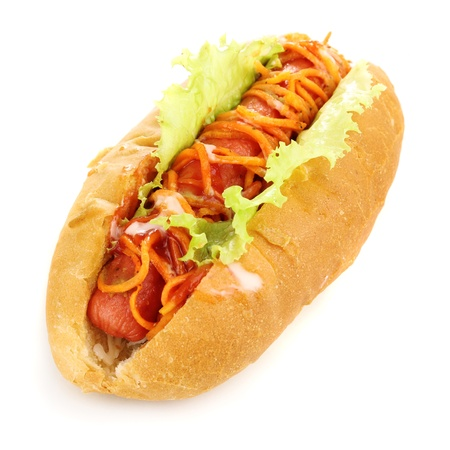 Appetizing hot dog isolated on white Фото со стока