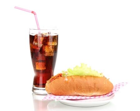 Appetizing hot dog and cola isolated on white photo