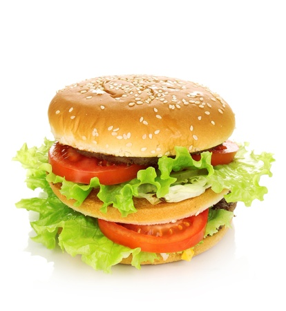 sesame seed bun: Big and tasty hamburger isolated on white