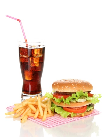 Big and tasty hamburger and fried potatoes with cola isolated on white photo