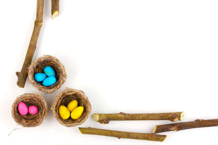 Colorful easter eggs in nests isolated on white photo