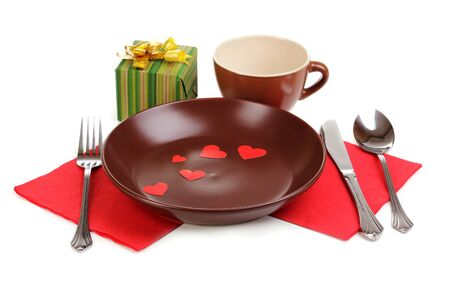 Table setting isolated on white photo