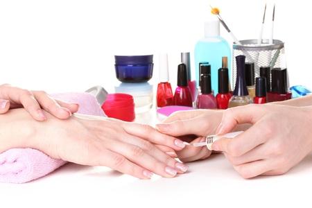 nail salon: Manicure process in beautiful salon