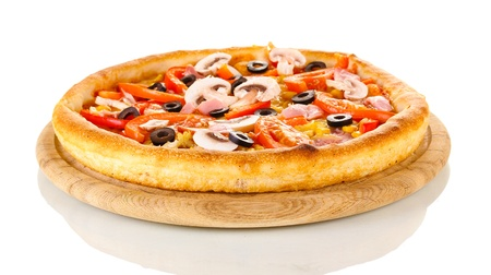 Aromatic pizza isolated on white