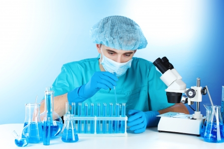 scientist in the lab working with chemicals test-tubes Stock Photo - 14934951