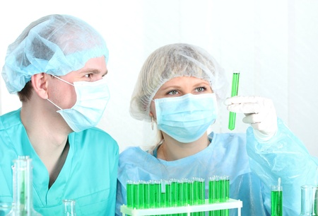 two scientists working in chemistry laboratory Stock Photo - 14934950