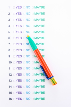 Yes, no or maybe cheklist close-up Stock Photo - 13082831