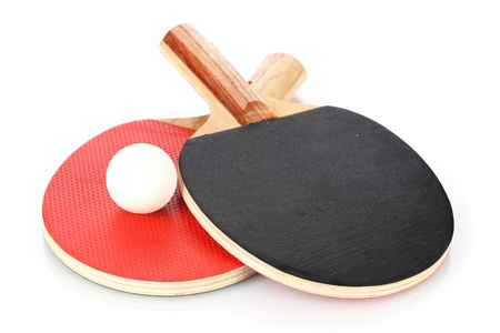 paddle: ping-pong rackets and ball, isolated on white